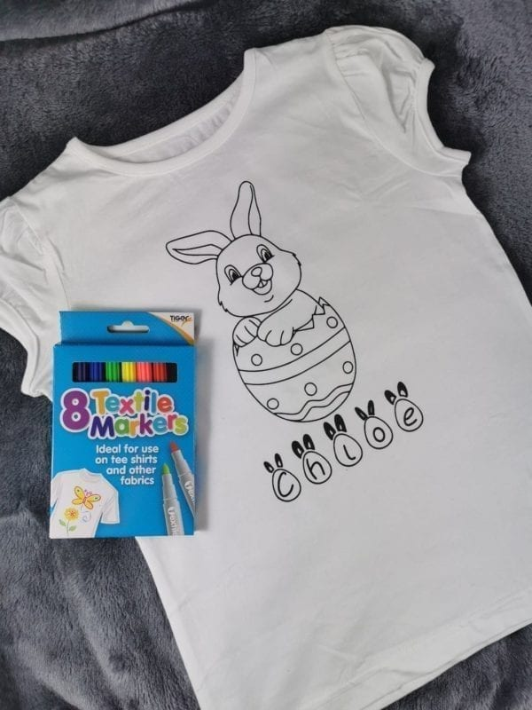 Colour your own easter bunny T Shirt with Pens