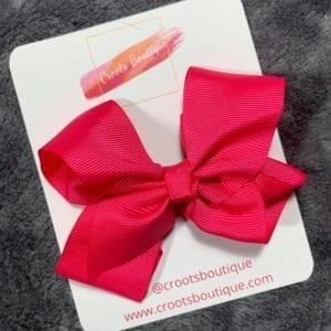 Dark Pink ribbon Clip