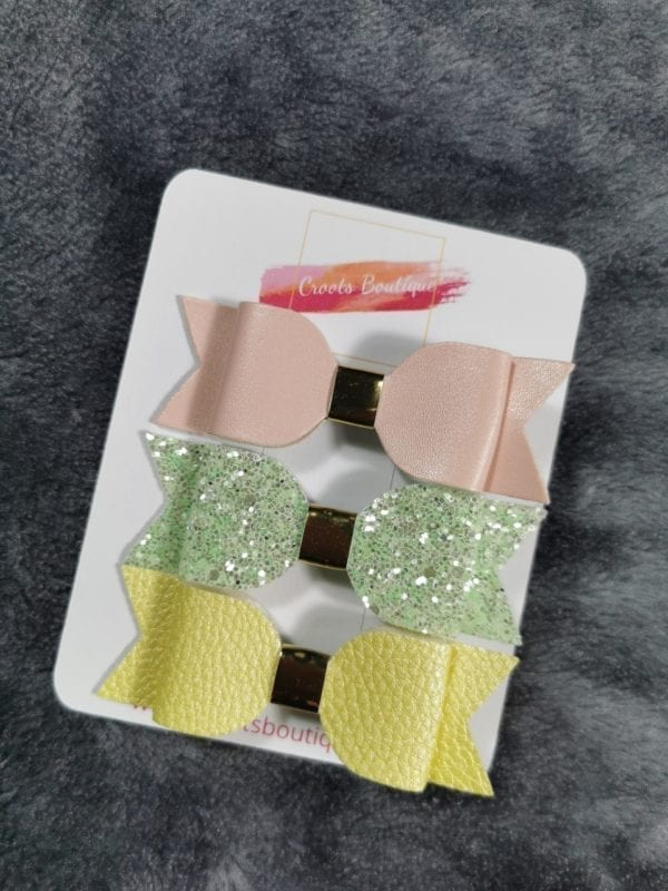 Pastel trio bow set