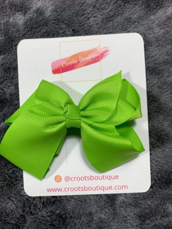 apple green bow clip