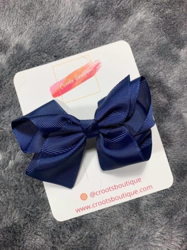 Navy Blue bow clip
