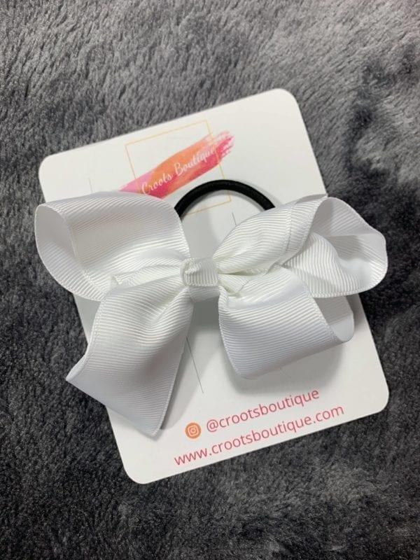 White bobble bow